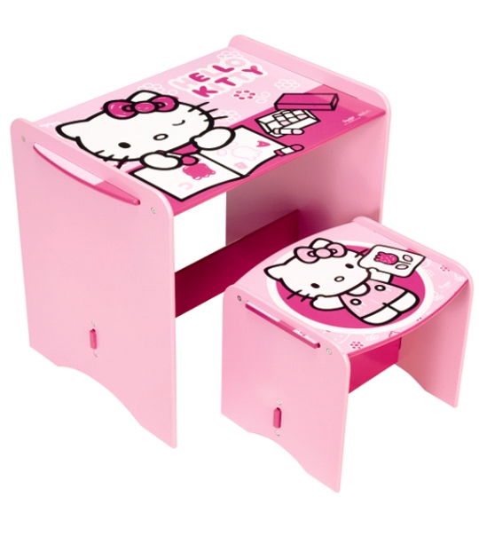 bureau enfant hello kitty et tabouret chez doudou. Black Bedroom Furniture Sets. Home Design Ideas