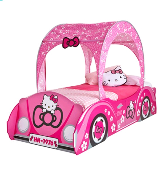 lit enfants hello kitty voiture 190 x 90 chez doudou. Black Bedroom Furniture Sets. Home Design Ideas