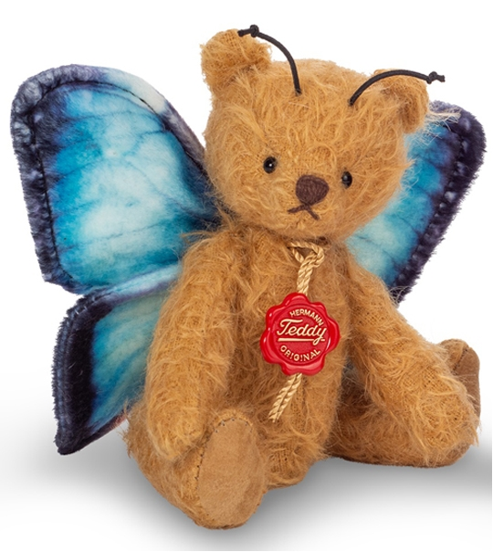 Ours en peluche de collection papillon bleu  en peluche