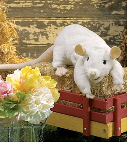 peluche marionnette rat blanc 48 cm chez doudou. Black Bedroom Furniture Sets. Home Design Ideas