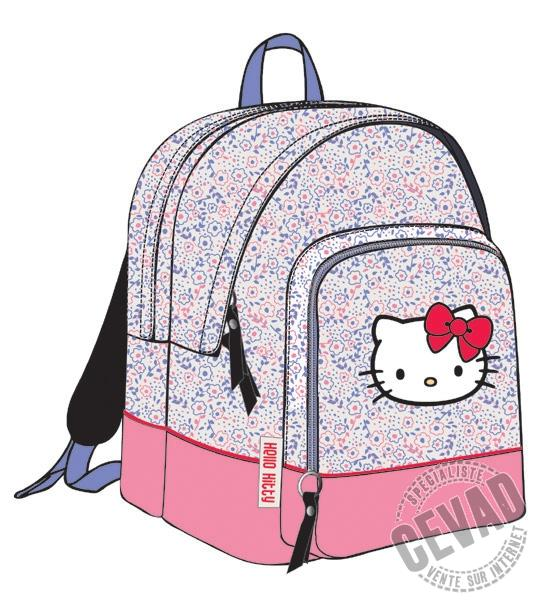Sac à dos 2 Compartiments Hello Kitty Fleur en peluche