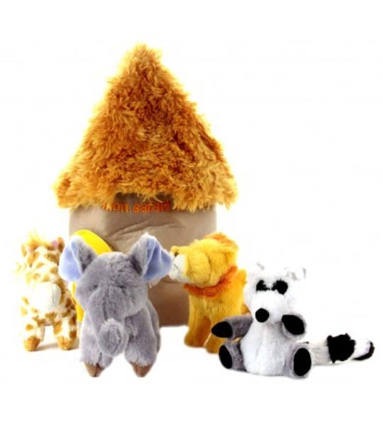Set safari avec 4 peluches en peluche