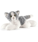 Peluche Anima Chat couché gris 30 cm
