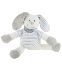 peluche Babiage Lapin bayadère rayure grise sans ...