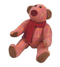 peluche Peluche Ours Edmond en Tweed rouge