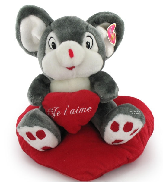 impression de l 39 article peluche souris 35 cm avec un coeur chez doudou. Black Bedroom Furniture Sets. Home Design Ideas