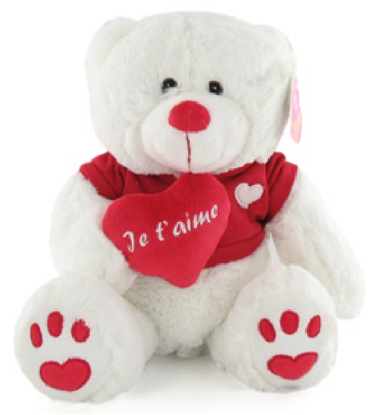 impression de l 39 article peluche ours amoureux avec coeur chez doudou. Black Bedroom Furniture Sets. Home Design Ideas