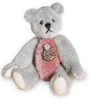 peluche Ours mini teddy à collectionner gris rose