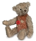 peluche Ours de collection vintage beige rouge 30 cm