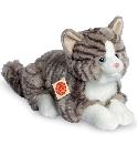 Peluche chat gris assis 30 cm