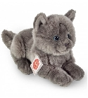 peluche Peluche chat gris allongé Hermann 20 cm