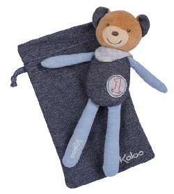 peluche Doudou Kaloo Blue Denim ours champion