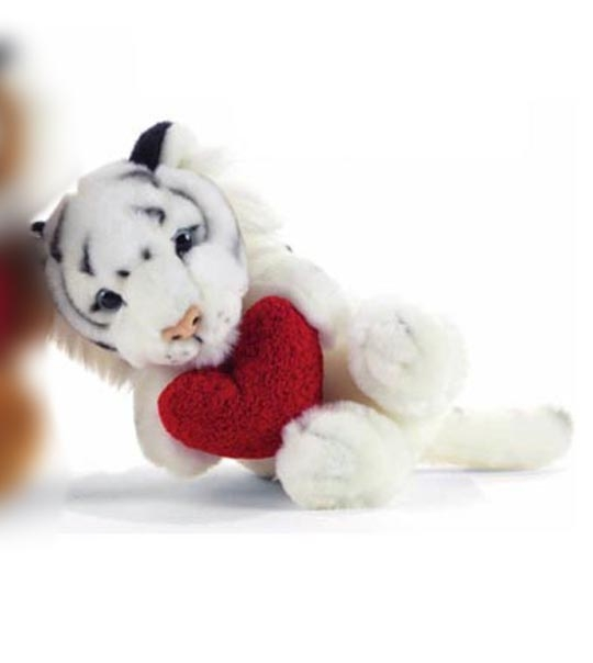 impression de l 39 article peluche tigre blanc avec un coeur chez doudou. Black Bedroom Furniture Sets. Home Design Ideas