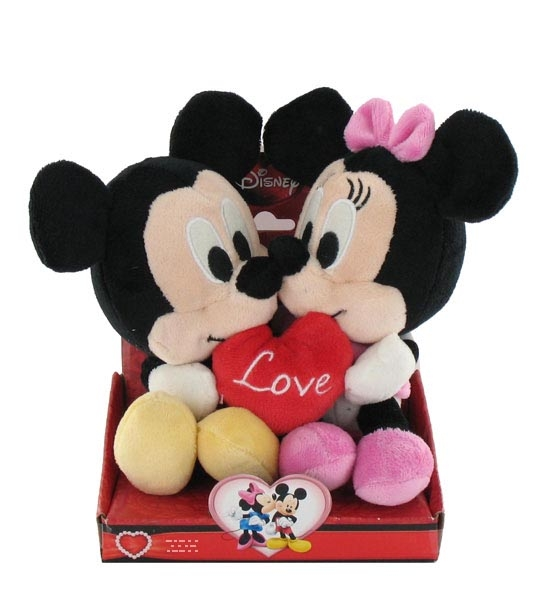 impression de l 39 article peluche mickey et minnie avec coeur 20 cm chez doudou. Black Bedroom Furniture Sets. Home Design Ideas
