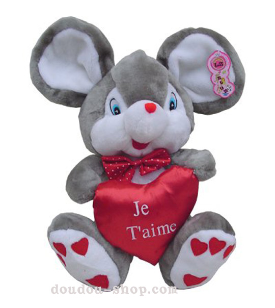 impression de l 39 article peluche souris grise je t 39 aime chez doudou. Black Bedroom Furniture Sets. Home Design Ideas