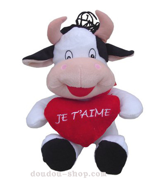 impression de l 39 article peluche vache g ante avec coeur chez doudou. Black Bedroom Furniture Sets. Home Design Ideas